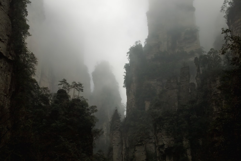 fog-covered mountains during cloudy day