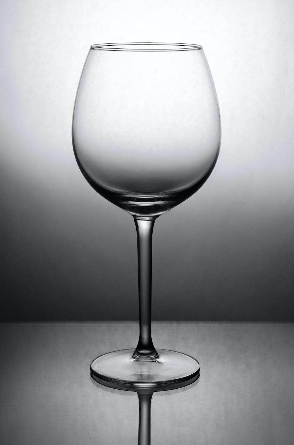 grayscale photo of wine glass