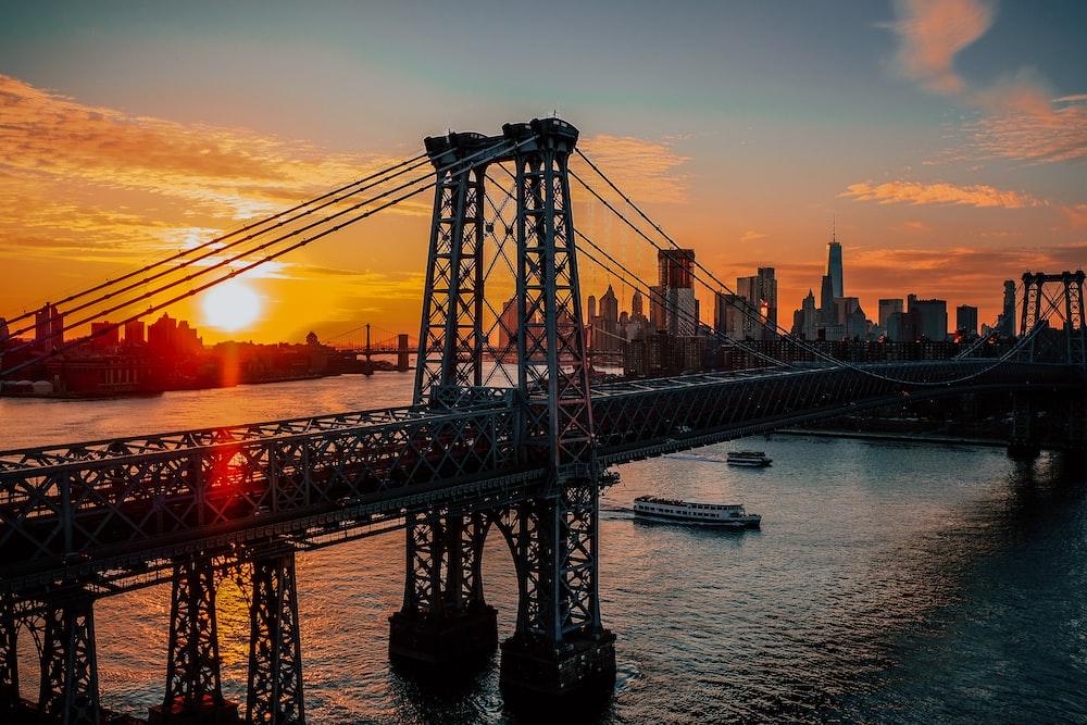 silhouette photo of bridge