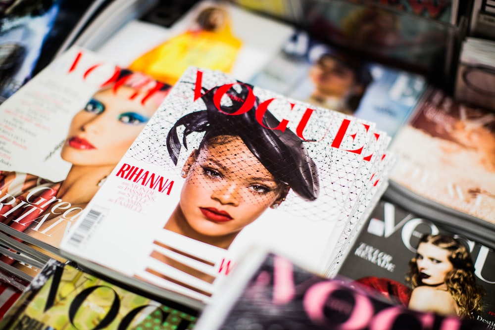 Vogue Rihanna magazine beside magazines