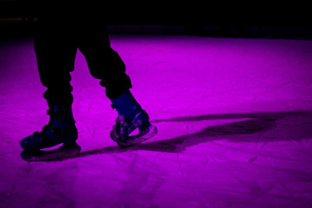 person wearing hockey skates