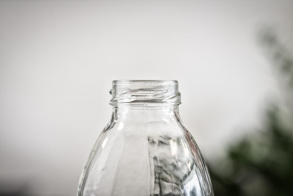 clear glass bottle