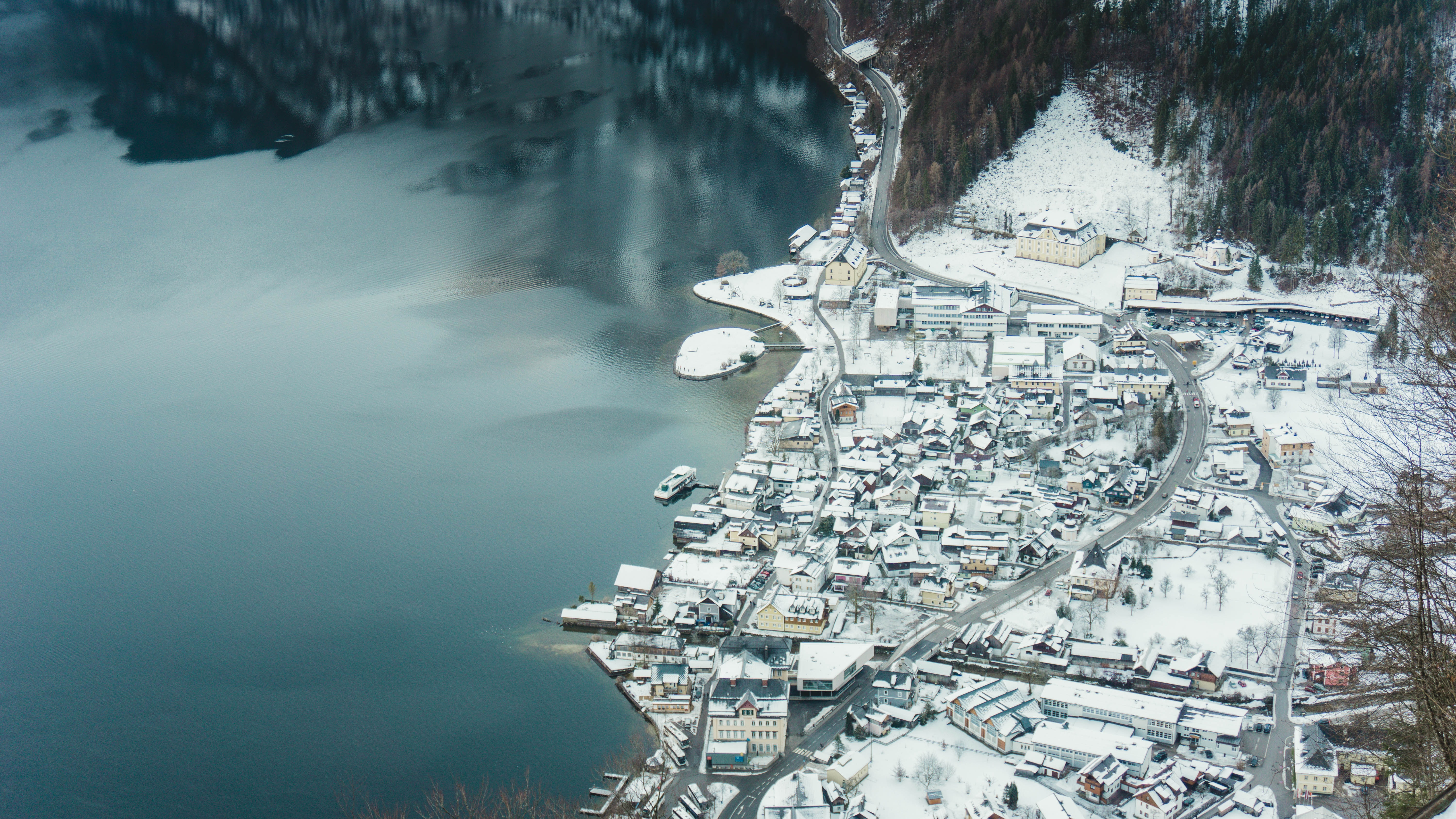 birds eye view of city building covered with snow