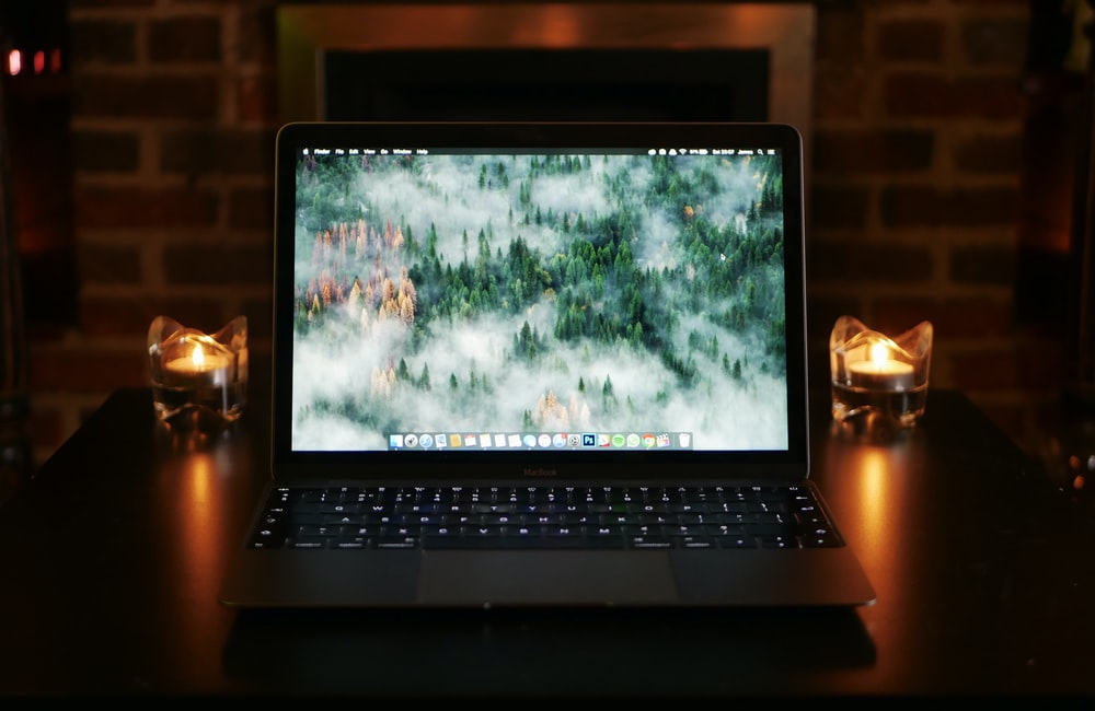 MacBook laptop computer turned on