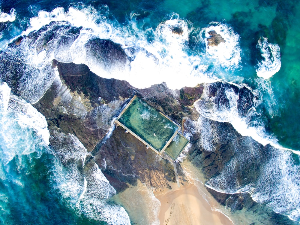 sea waves in aerial photography