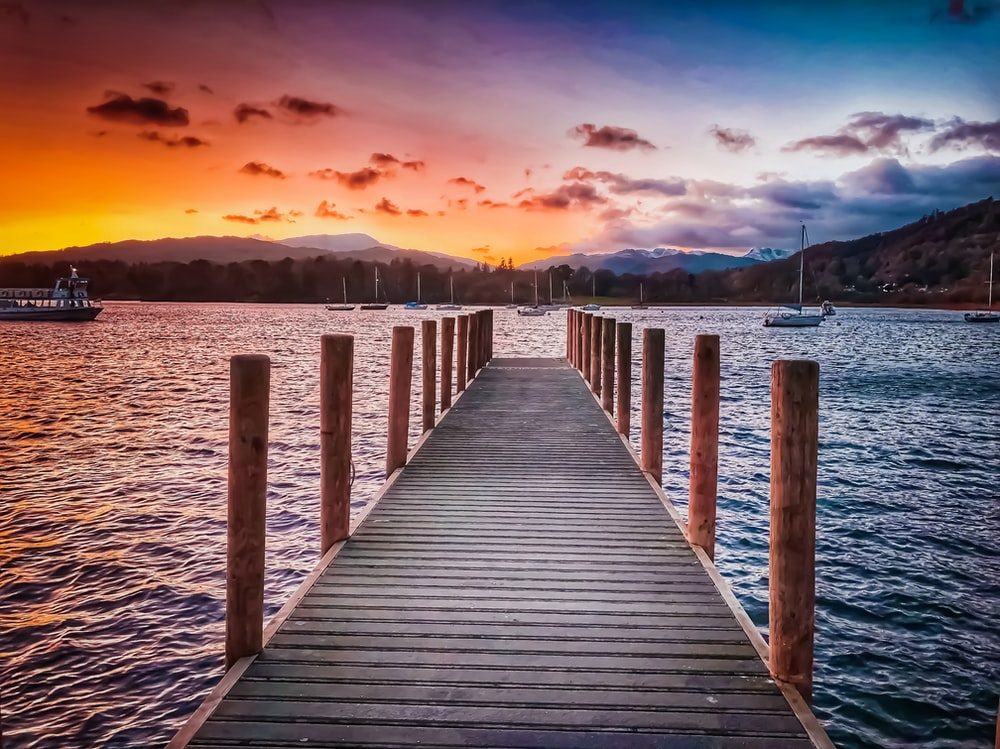 brown wooden dock near body of water during blue hour