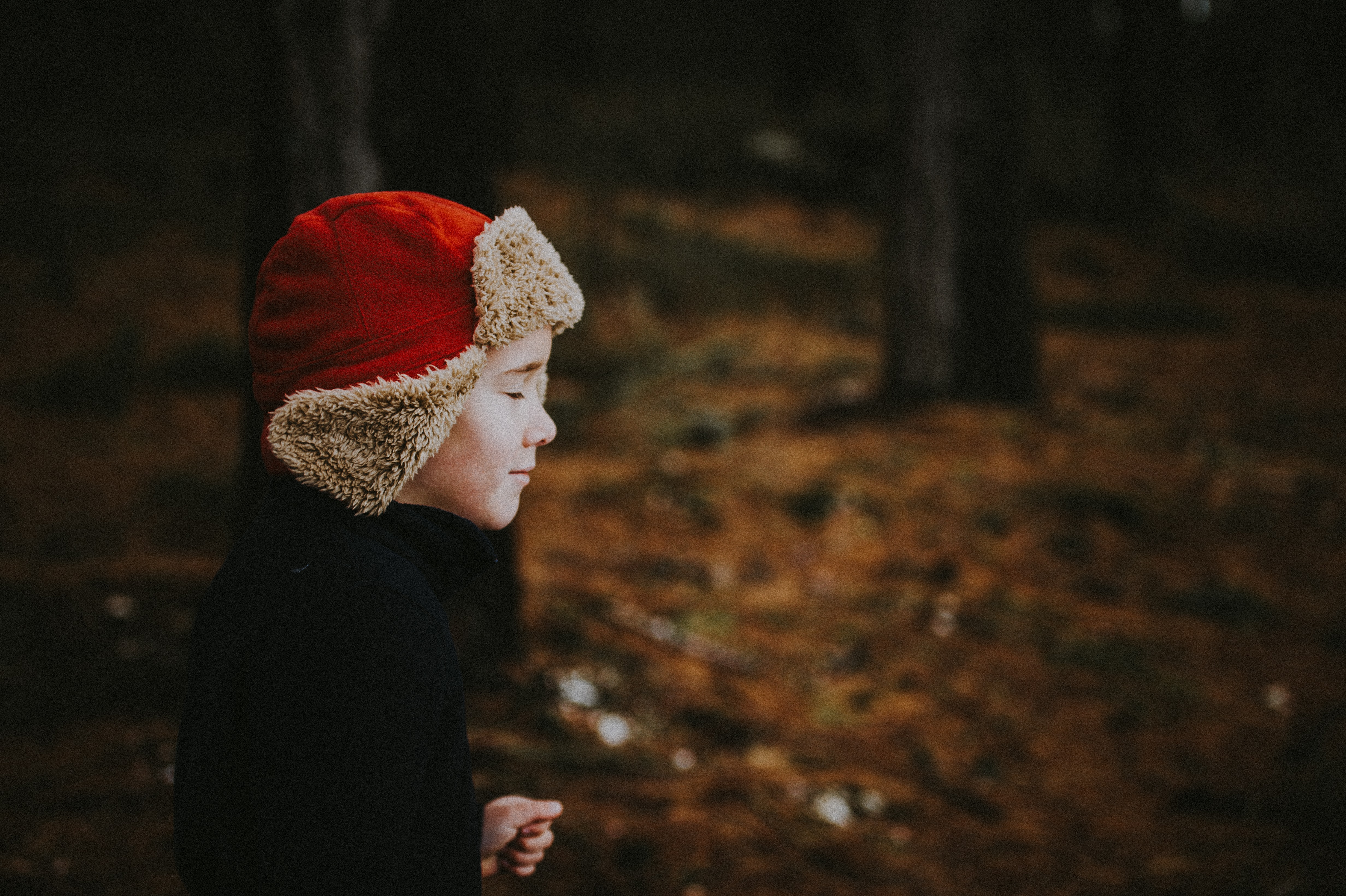 boy with close eyes on vignette photography