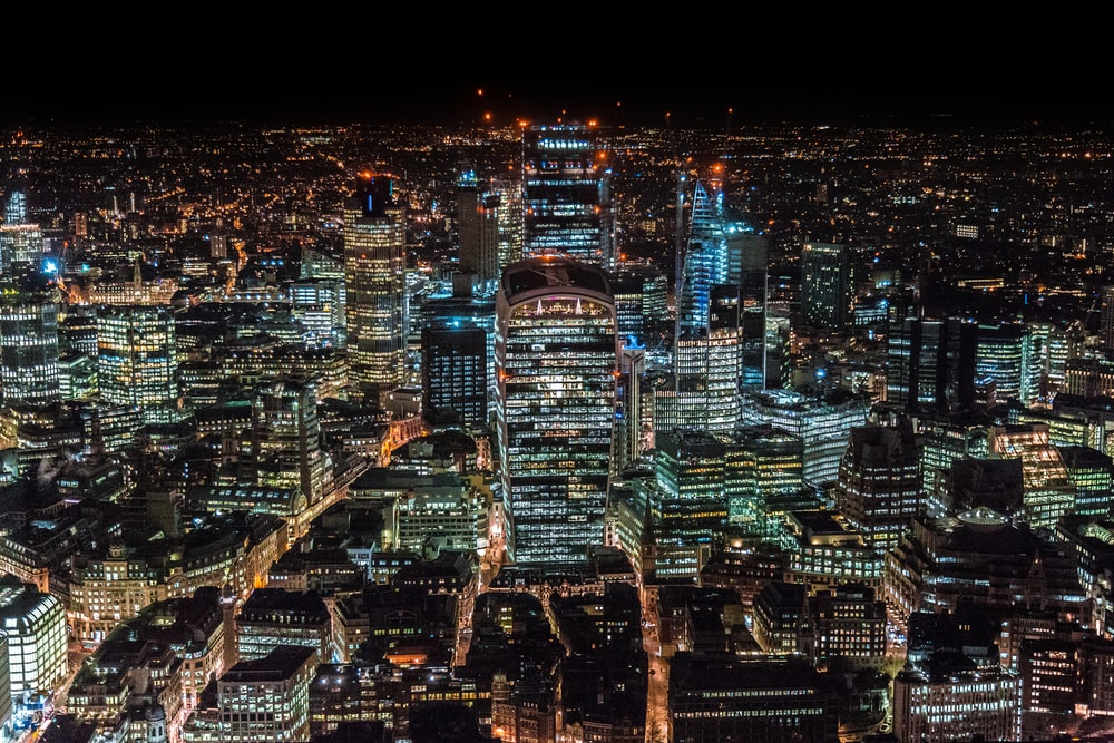 aerial photography of city scapes at nighttime
