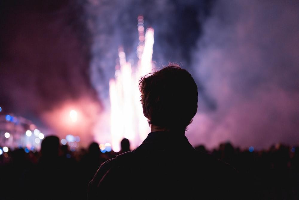 man facing on fireworks