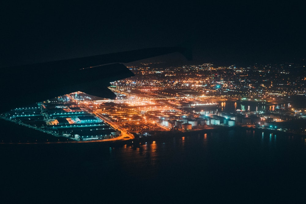 aerial photography of city building during night time