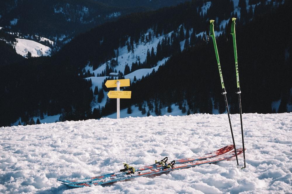 snow ski set on snow field