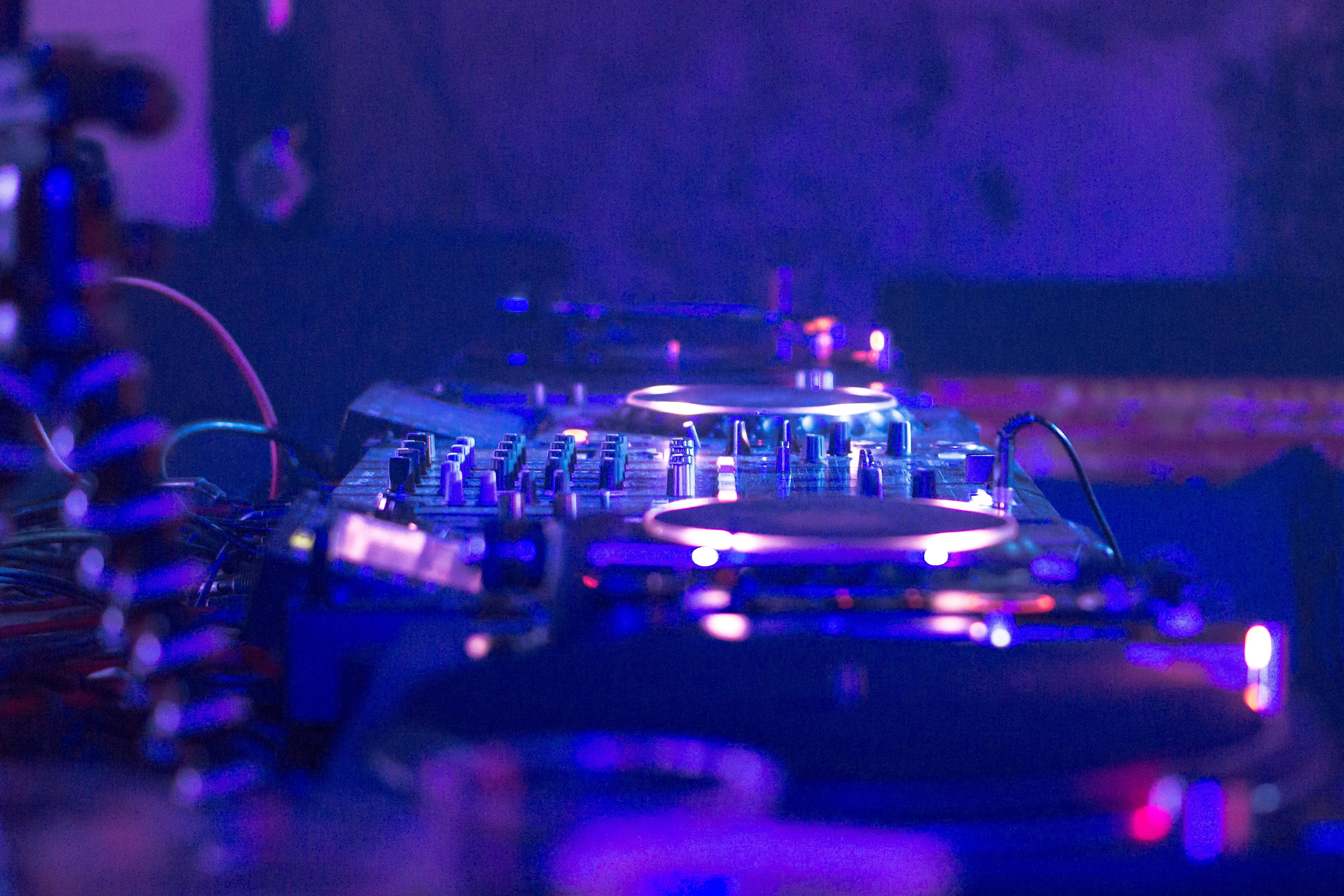 DJ controller in dimmed room