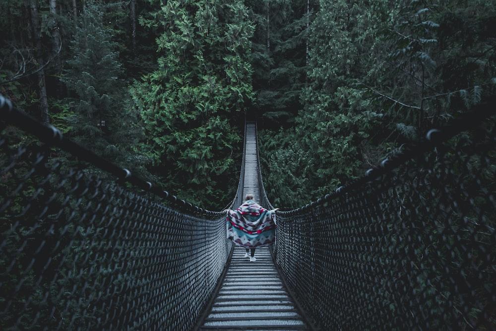 person crossing on the bridge
