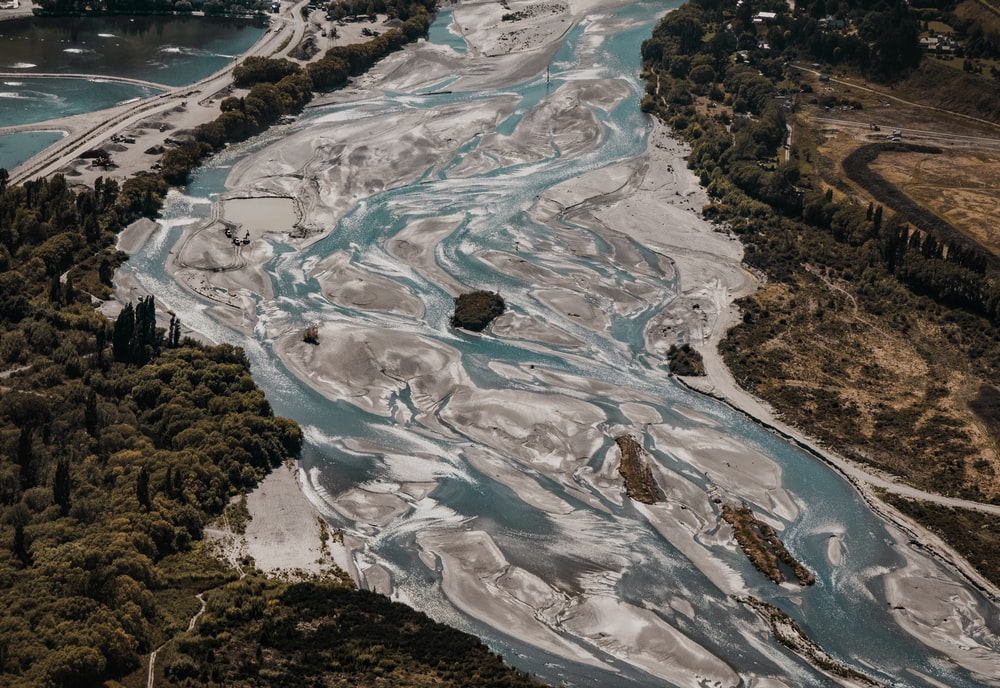 blue and gray body of water in aerial view photography