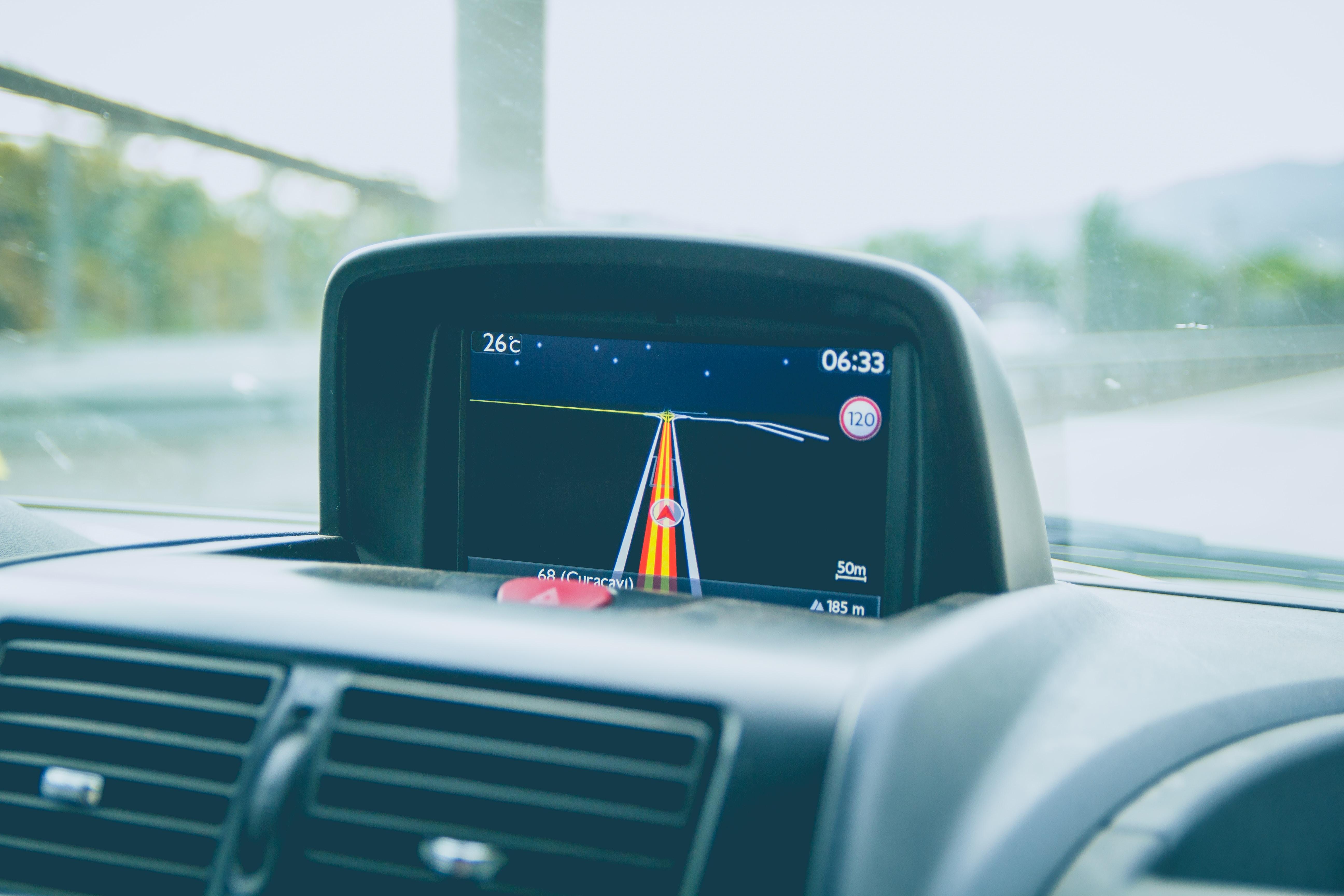 black vehicle GPS turned on