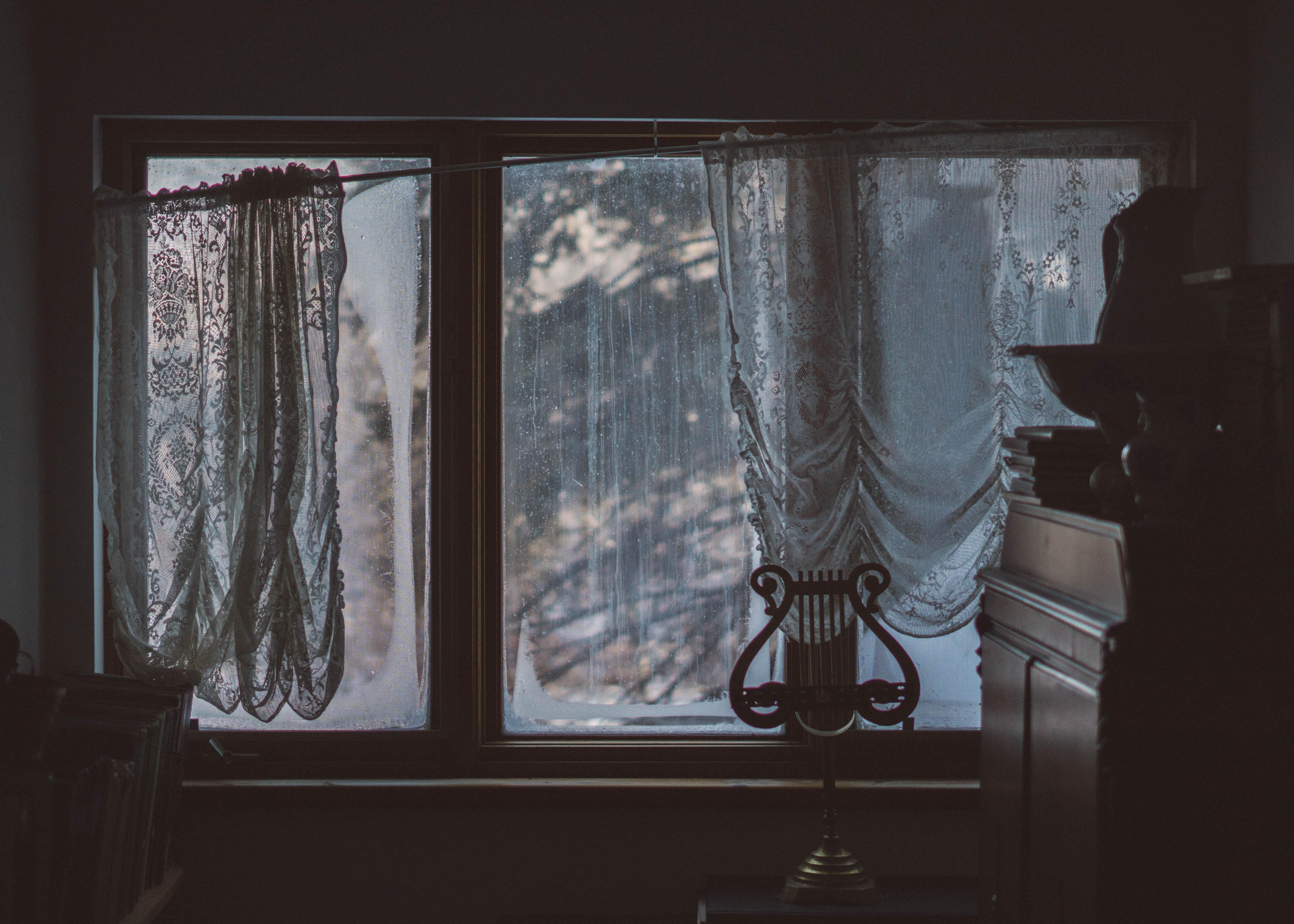 glass window with black frame