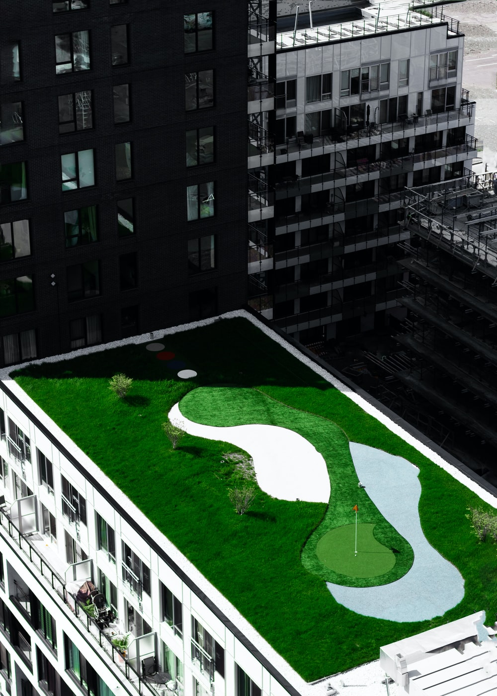 golf field on top of building during daytime