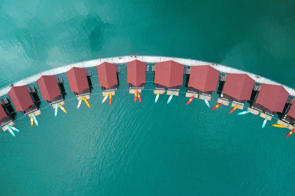 top view of cottage roofs