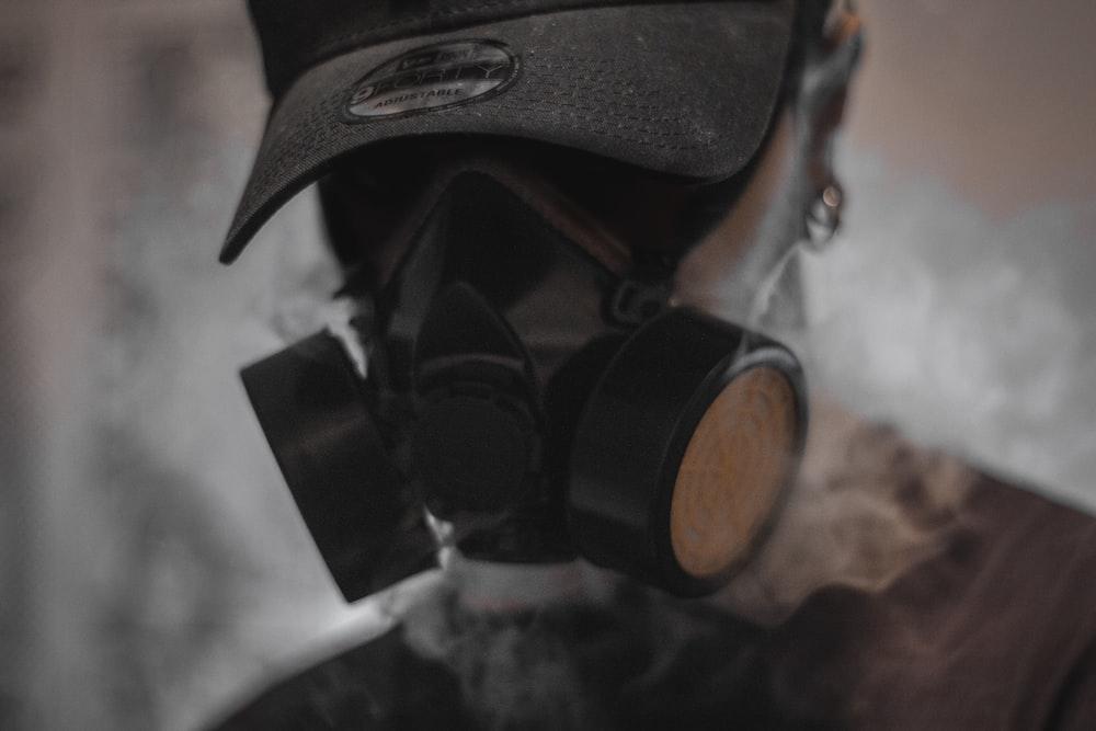 man using smoking mask