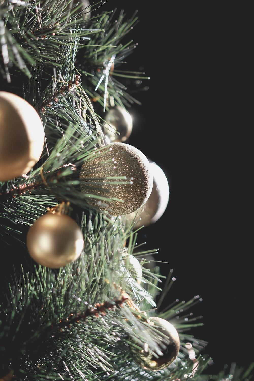 closeup photo of christmas bauble on christmas tree