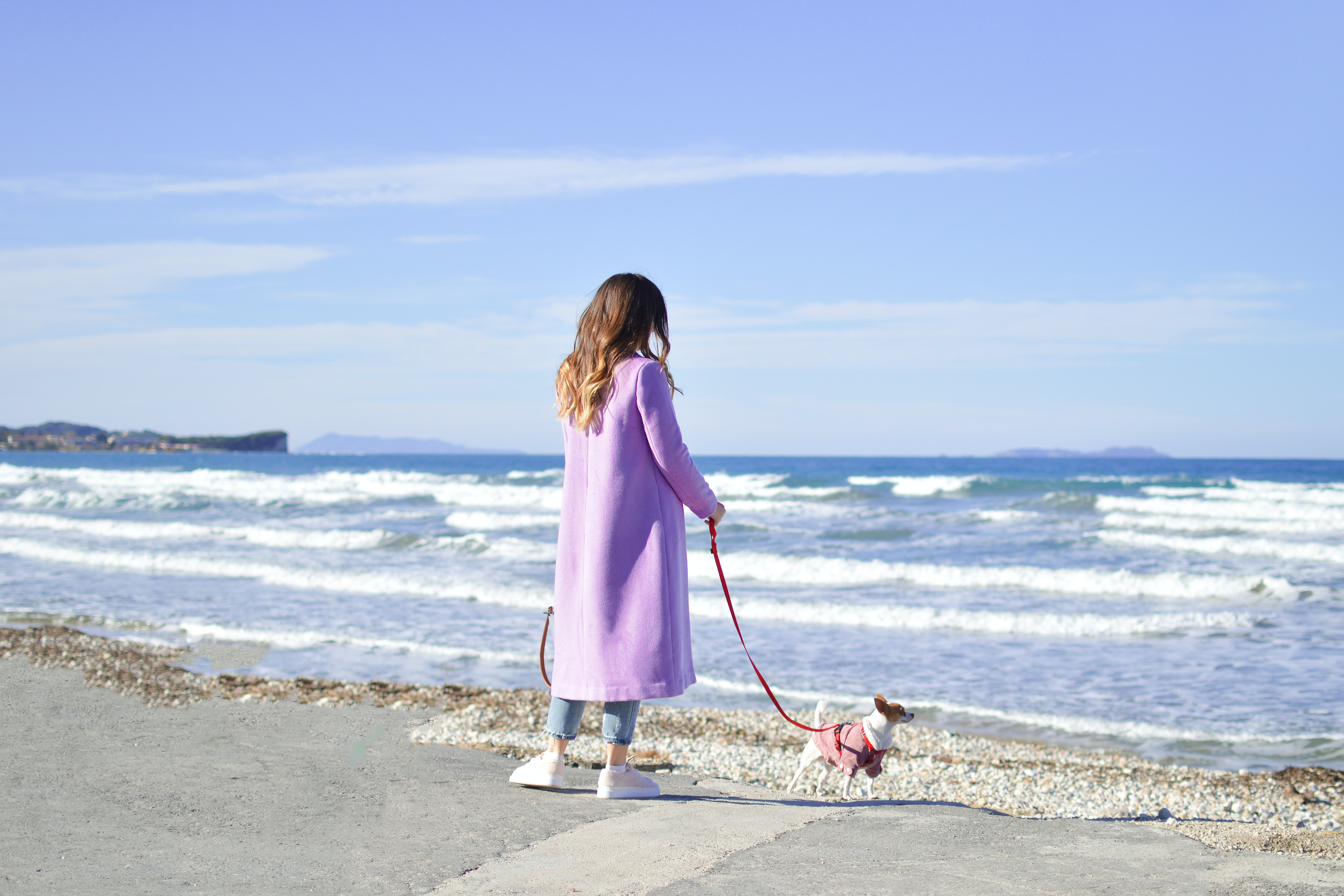 person in purple trench coat near body of water