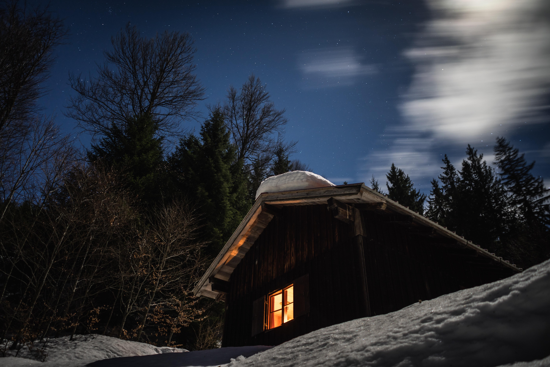 black house near trees