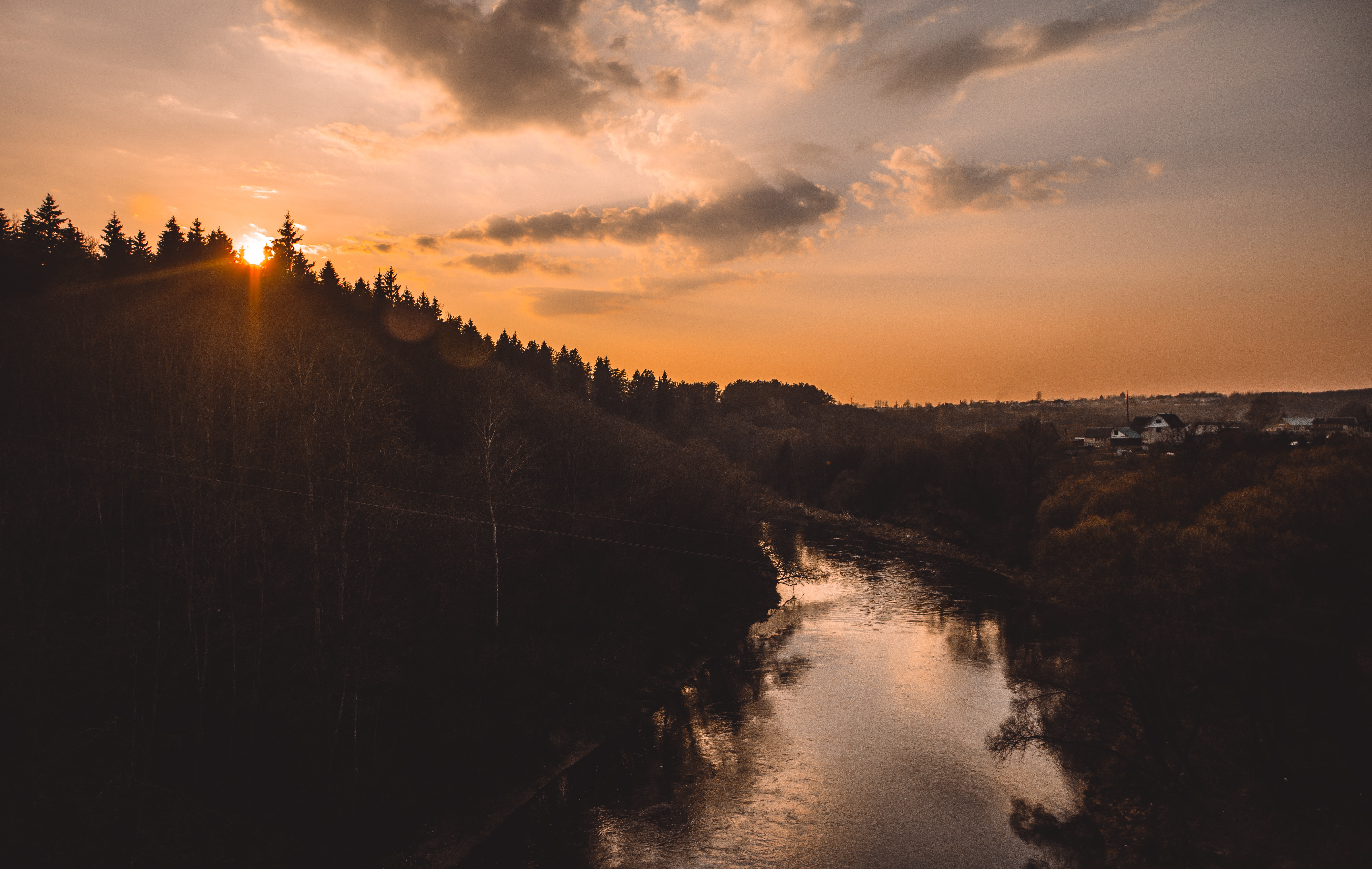 sunset in the river
