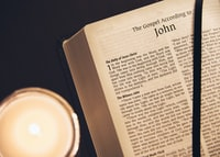 opened book of John Bible page