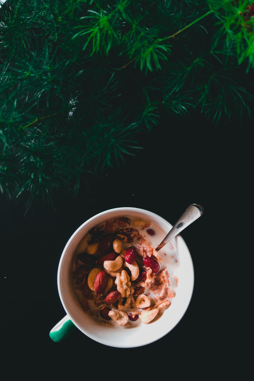 mug with nuts and milk