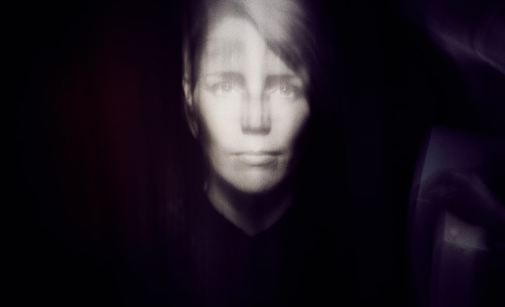 grayscale photography of person