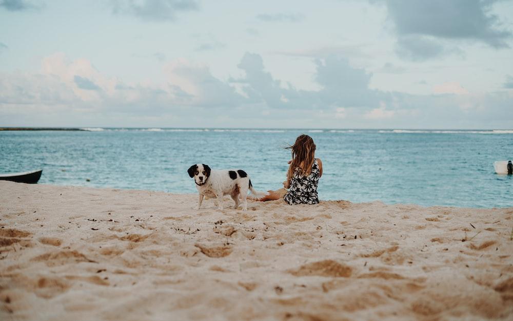 woman sitting on shore beside Saint Bernard puppy at daytime