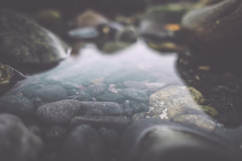 body of water in between rocks