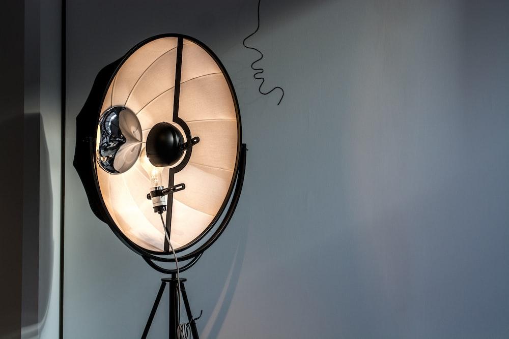 black studio light turned on