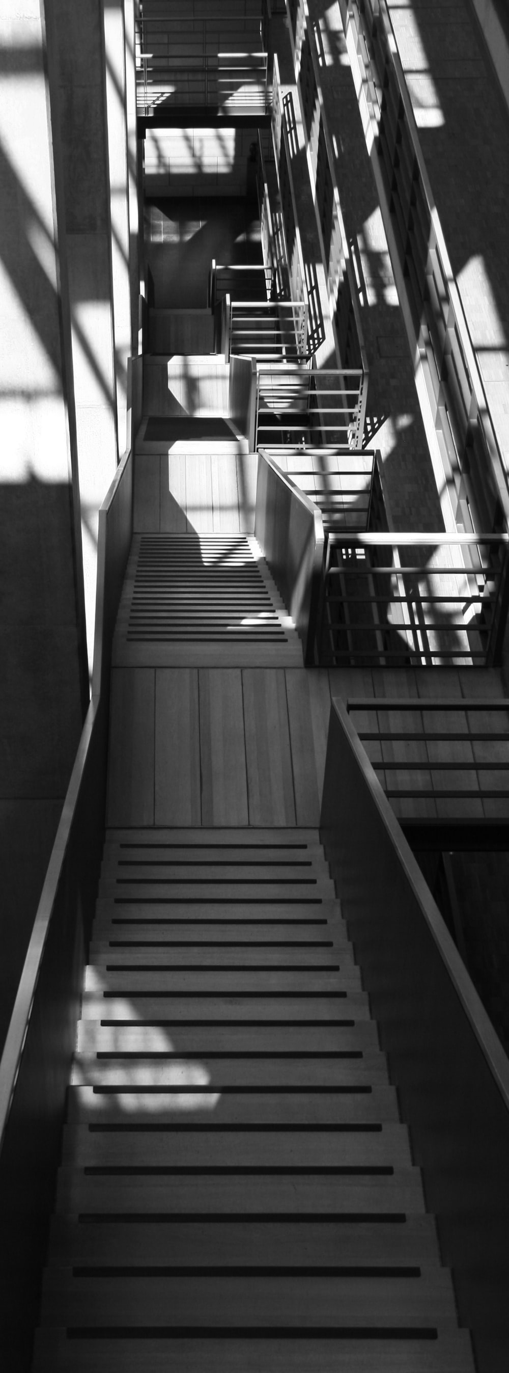 grayscale photo of stair