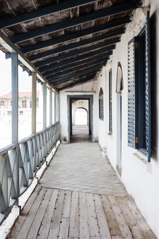 opened casement window beside empty terrace