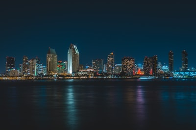 city near body of water during nighttime san diego teams background