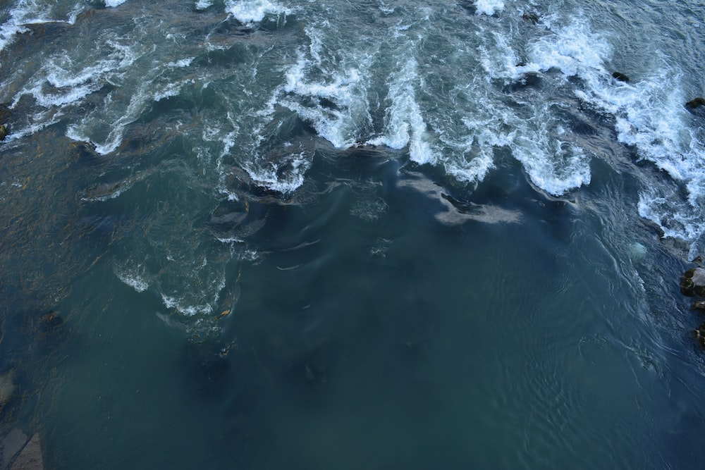 closeup photo of body of water