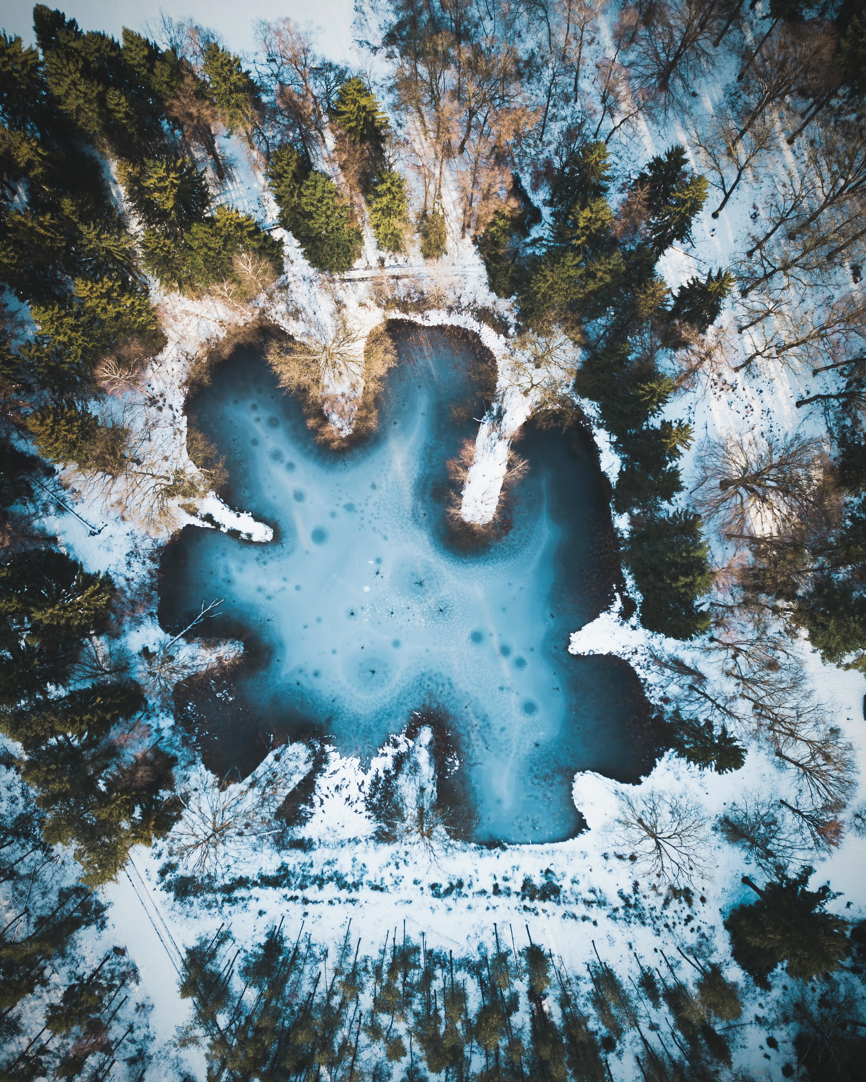 body of water surrounded by snow covered ground with green trees