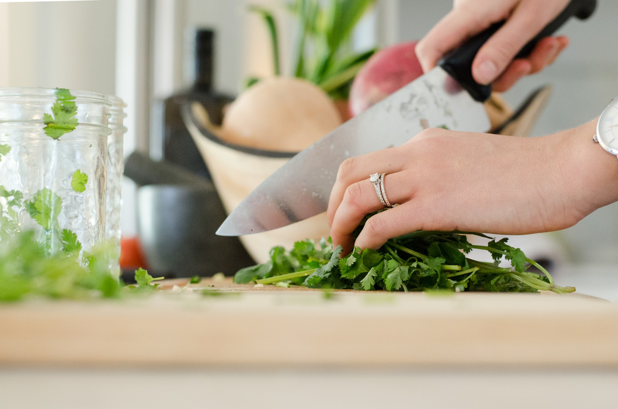 Food safety tip: chop vegetables like cilantro and meat using different utensils and boards