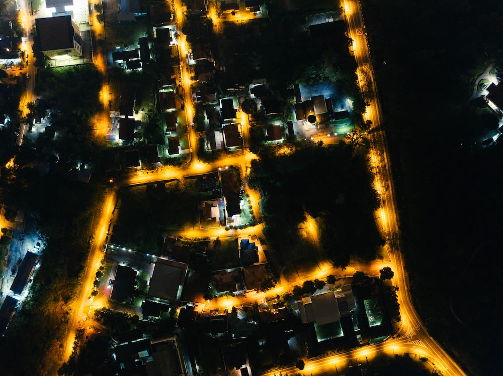 top view photography of city at night