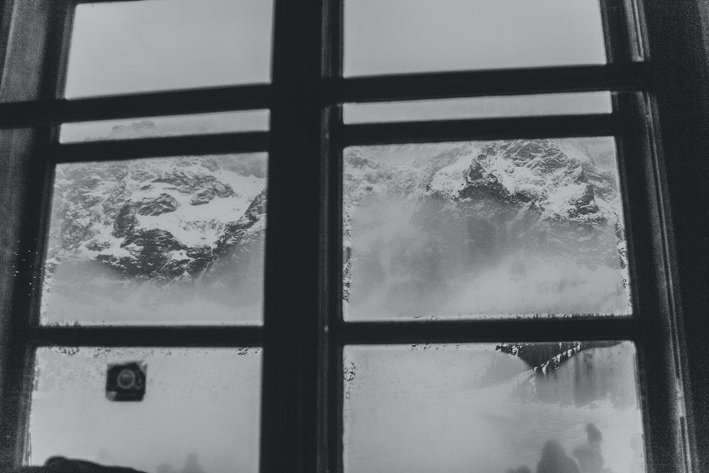 grayscale photo of windows