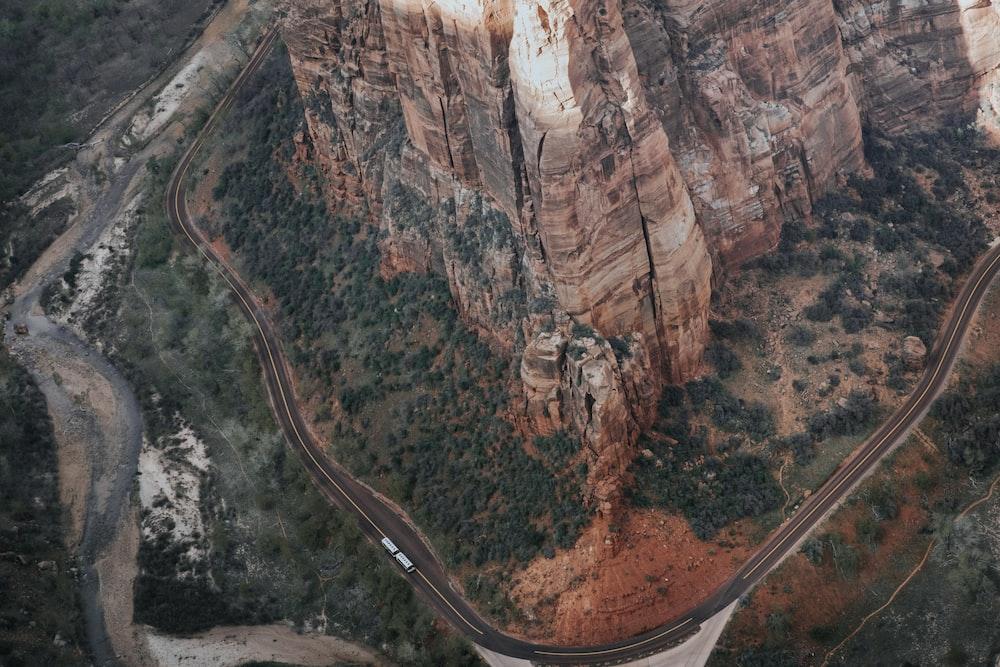 aerial shot of asphalt road