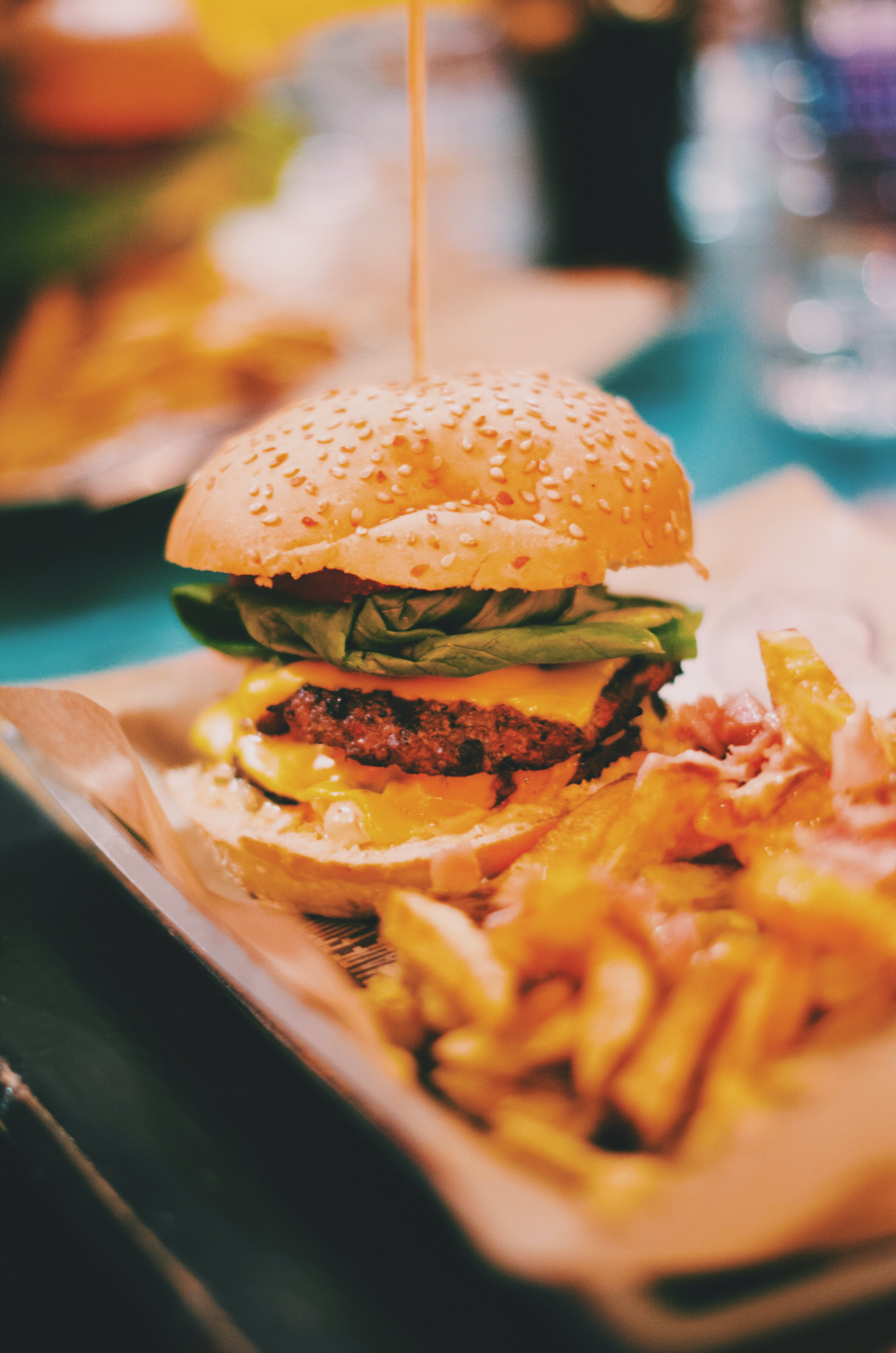 food photography of burger and fries