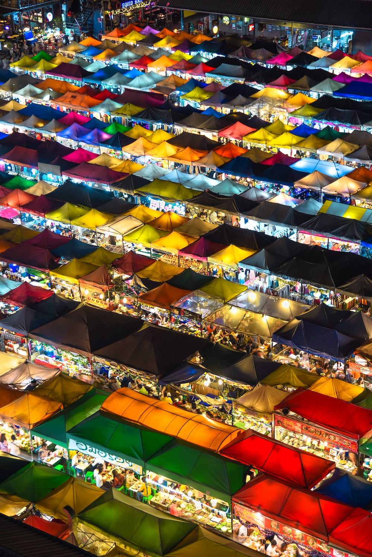 aerial photography of gazebo stalls