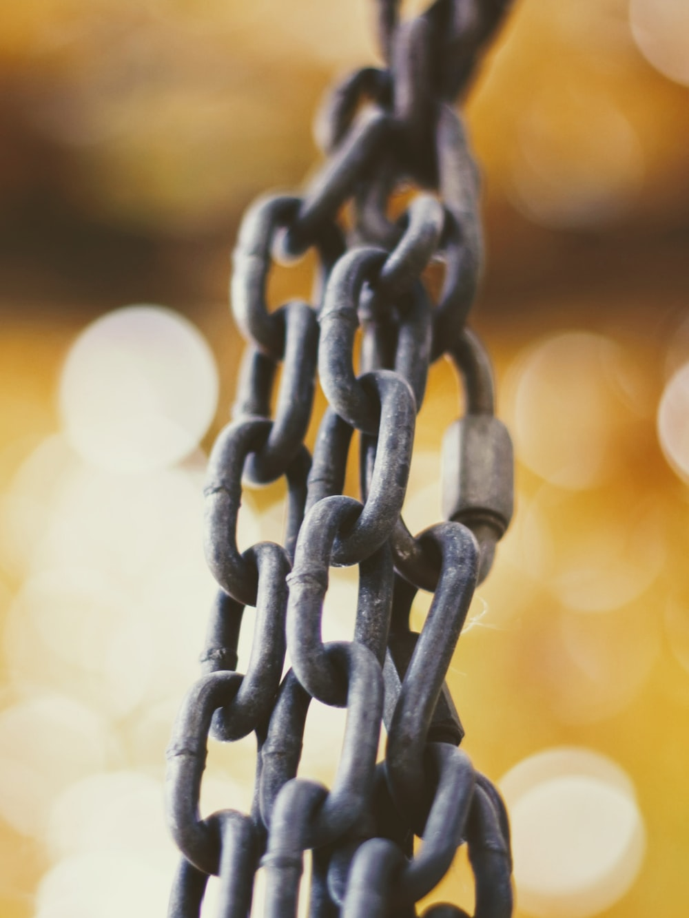 brown metal chain in focus photography