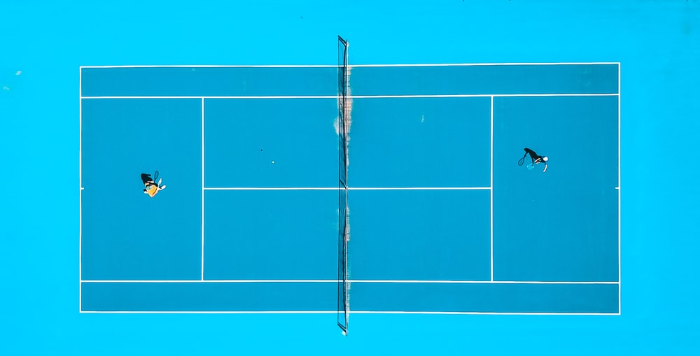 aerial photography of two person playing tennis