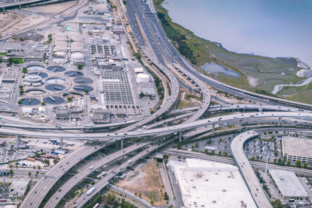 aerial photography of gray highways