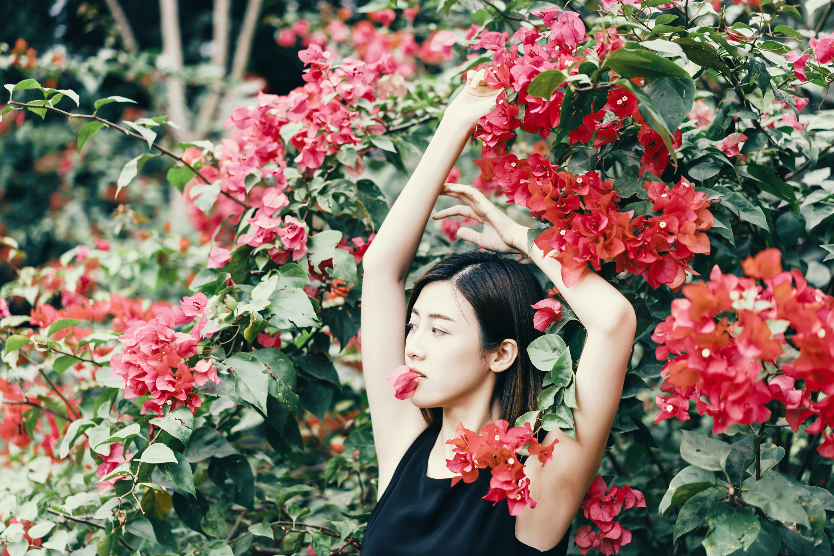 woman standing in front of red flowers
