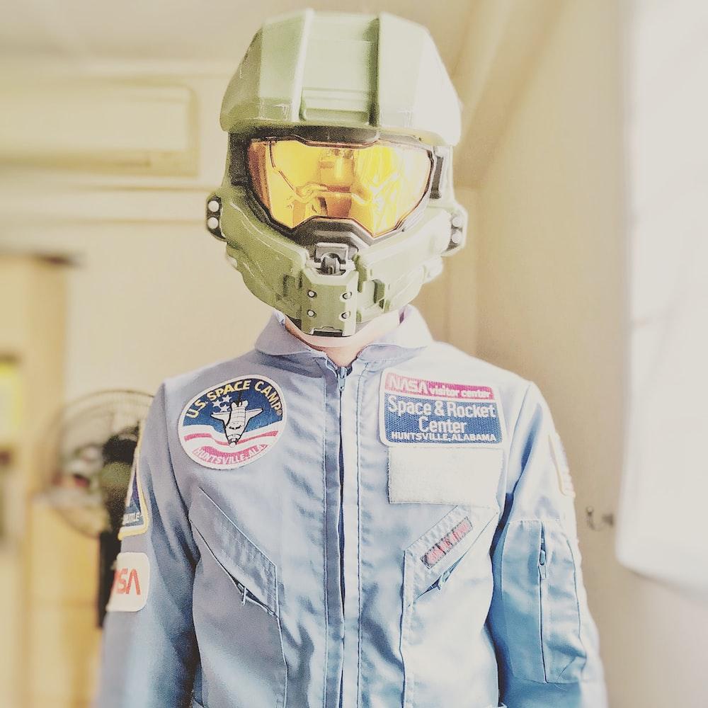 person wearing Halo helmet