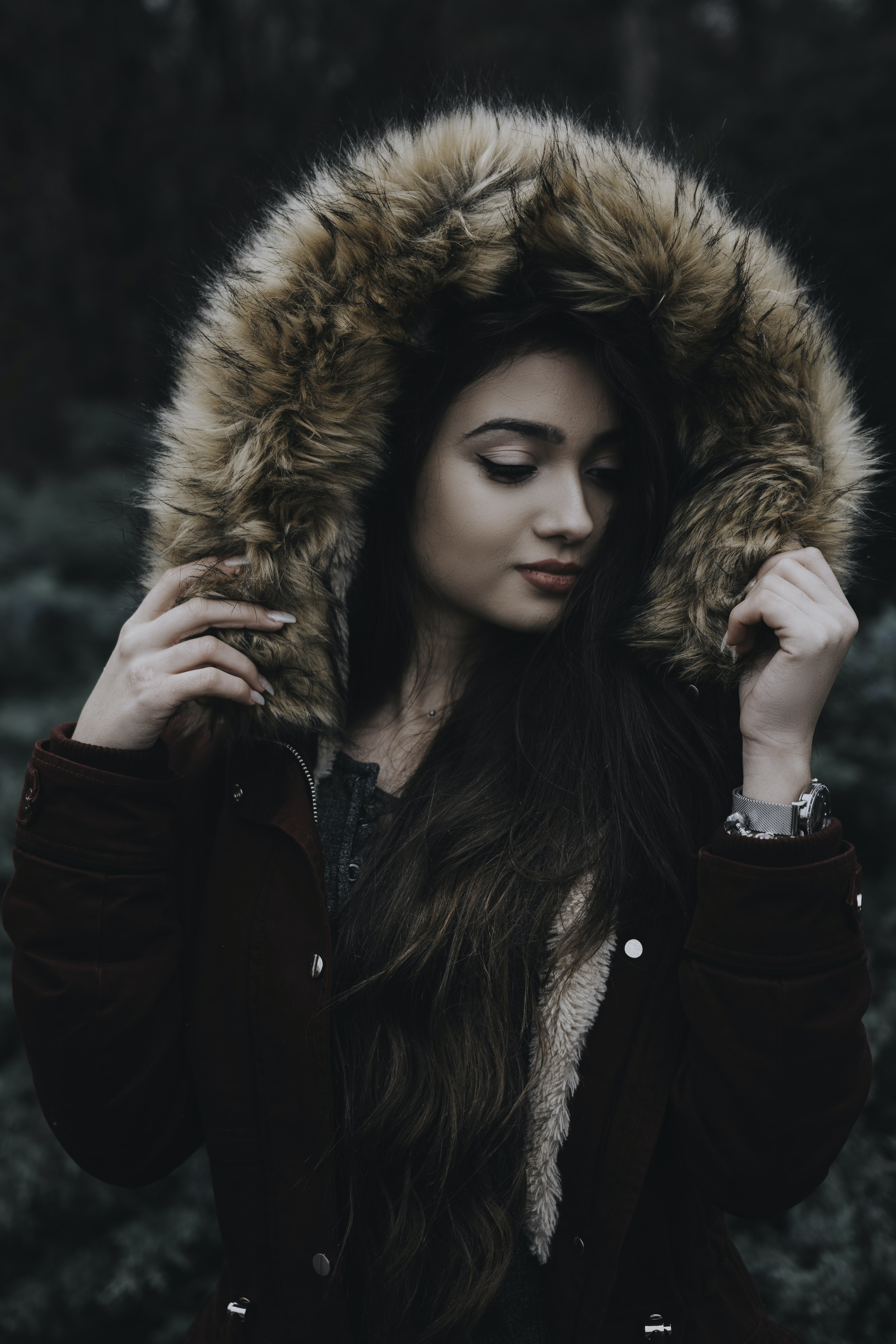 woman wearing parka jacket